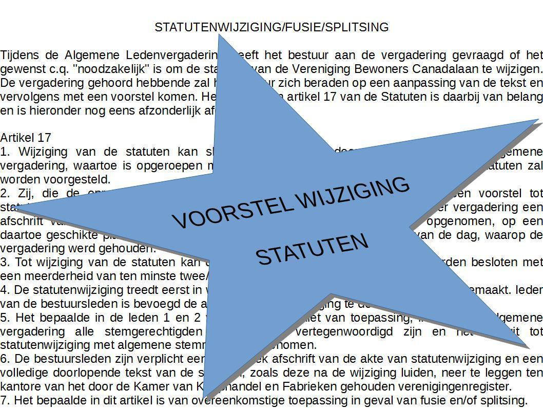 Voorstel tot wijziging statuten