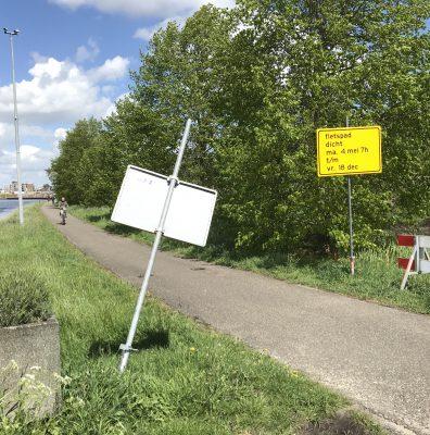 Nieuwe oprit A28 vanuit het centrum; fietspad afgesloten.
